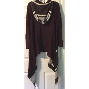 Elan Long Hooded Cardigan Sweater Maroon S/M